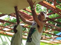 Volunteers help rebuild a school in the Philippines