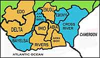 Map of Nigeria showing the many different regions and languages.