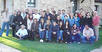 The whole gang. Most groups consist of about 20 English speakers and 20 Spaniards.
