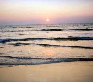 The sun sets on Sancole Beach.