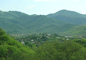 Alamos nestled in Sierra Madre foothills