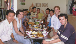 Catherine Loy, second from left, has lunch with friends and colleagues. Photos courtesy of Global Volunteer Network
