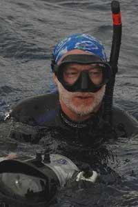 The author prepares to submerge.