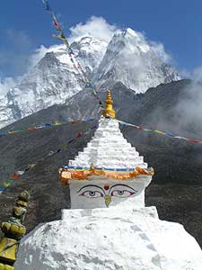 Mount Everest is seen behind a shrine in Dingboche - photos by David Rich