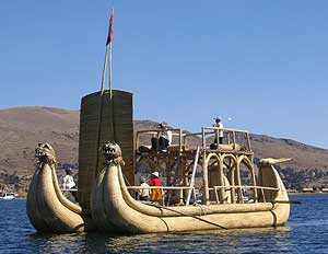A raft made out of reeds by the Aymara people, who live on floating islands on Lake Titicaca in Peru. Photos by Eva Piccozzi and Alexander Miller.