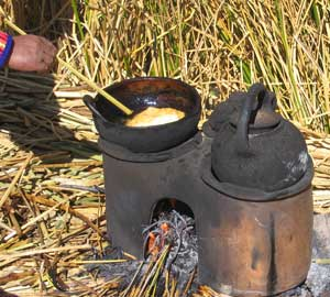 Frying bread on Amantani Island