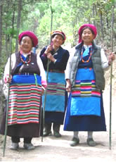 Laotian women in red berets