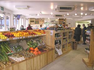 The organic farm shop at Occombe Farm