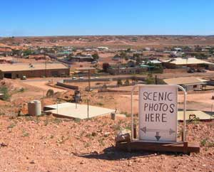 An ironic take on Coober Pedy's barren landscape, from a town lookout point.