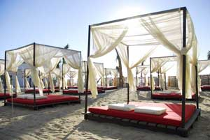 Beds on the beach at Desire Los Cabos.