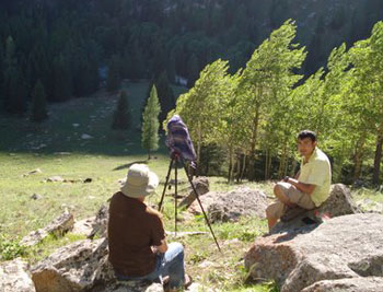 Waiting for the eclipse. Moments later we had to run up the hill as the sun threatened to disappear behing the mountain.