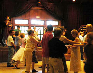 Contradancing with a live old time band and dance caller