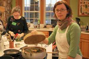 Emolyn Liden participates in the Southeast Asian cooking class.