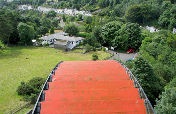 The view from the platform at the top of the Great Laxey Wheel is not recommended for anyone who suffers from vertigo.