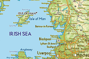 The Isle of Man is located between England and Ireland in the North Sea.