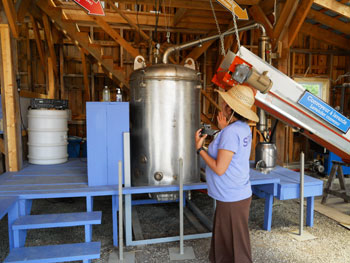 the distillery where the true lavender essential oil is extracted at the Domain Blue Lavender Farm in Magog, Quebec