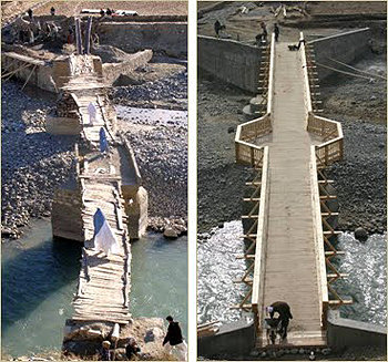 Bridge before and after reconstruction