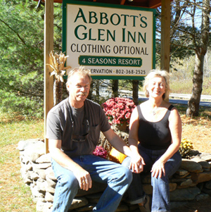 Amy and Lindy of Abbotts Glen Inn in Halifax Vermont one of the nicest nudist resorts in New England. Max Hartshorne photos.