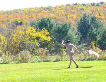 Flying a kite at a clothing optional inn in Vermont.