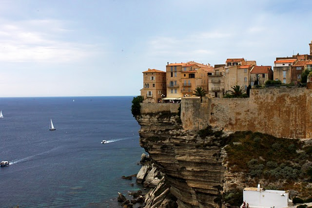 A view of the Haute Village of Bonifacio taken from a cliff nearby