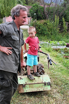 The farmer and his son in Corsica.