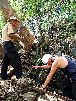 A volunteer goes ziplining in Costa Rica.