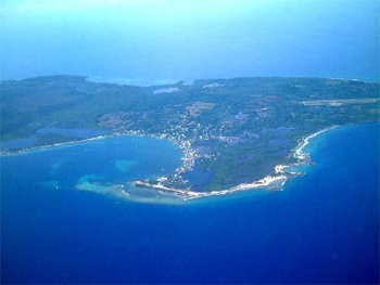 Utila island from the air. photo: Aboututila.com the local website.