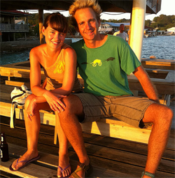 The author with her husband on Utila Island, Honduras.