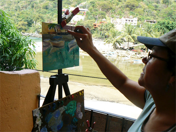 Painting plein air style in Boca de Tomaltan, Mexico at the Casa de los Artistas. photos by Max Hartshorne.