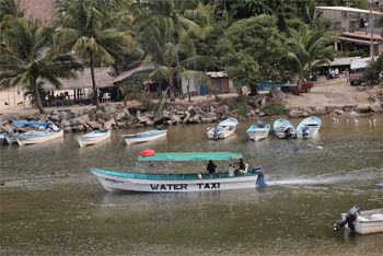 Water taxi passing by on the Rio Horcones, a familiar site up on the balcony of the Casa on Mexico's Pacific coast.