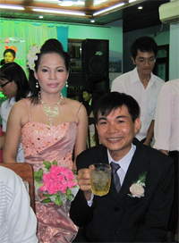 Bride and groom, former students at the center, at their wedding.