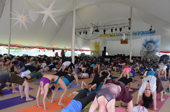 Yoga in the big tent in Manchester Vermont's Wanderlust Festival 2012. photos by Shelley Rotner.