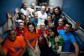 The group of 17 travelers who took the Great Circular India train challenge.