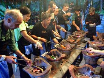 Laotian vegan grilling