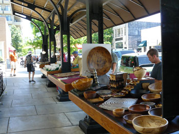 Sidewalk shopping in downtown Asheville.