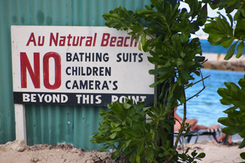A sign at the nude beach in Jamaica.