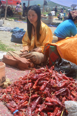 Chilli seller in Bhutan. photos by Kavita Kanan Chandra
