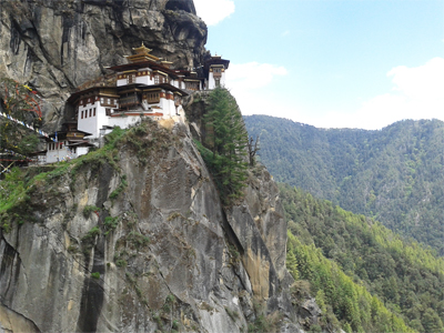 Paro-Taktsang monestery cling to the side of a mountain.
