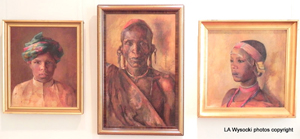 Portraits of Maasai leaders painted by Karen Blixen in the museum.
