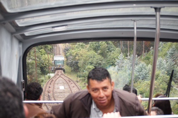 The funicular in Bogota to Montserrate mountaintop church. Max Hartshorne photo.