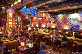 The cavernous and raucous NN Restaurant has three stories of dining and entertainment, it's a highlight of the city's dining scene. Paul Shoul photo.