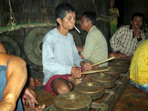 A drummer in the longhouse.