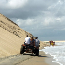 Riding a dune buggy on Brazil's Northeast coast.