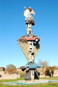 A sculpture of cars in Malpartida Spain