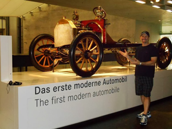 The first modern automobile at the Mercedes Benz museum. photos by Cary Carbonaro.