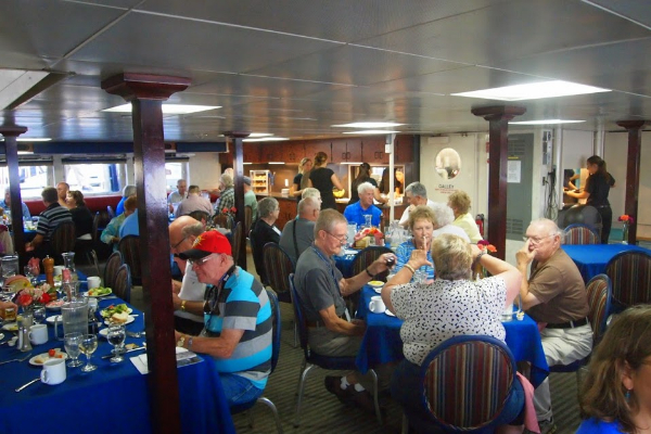 The ship's dining hall where meals are served family style and meals are BYOB.