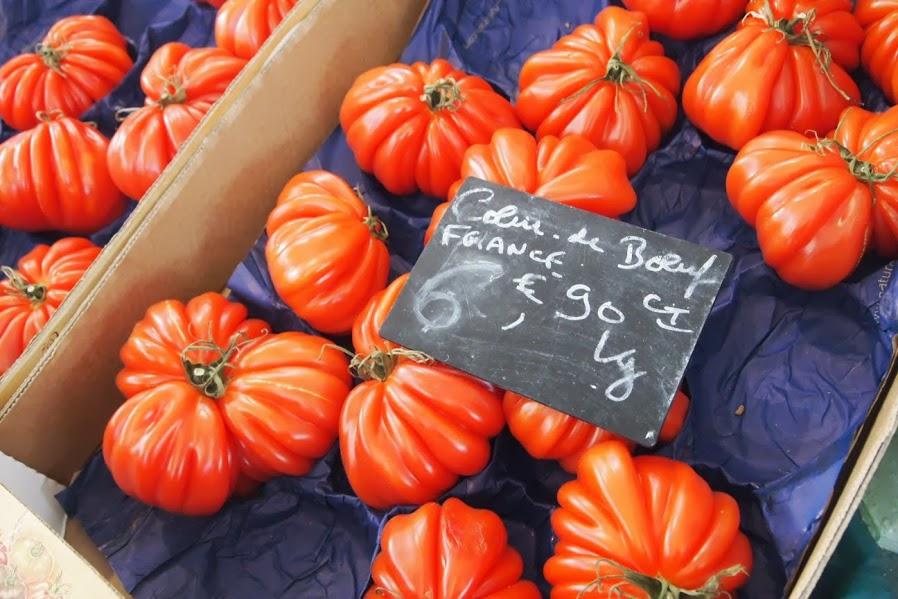tomatoes in Dijon Public Market.