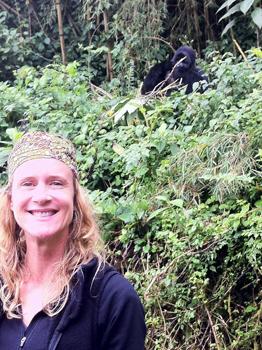 Susannah with a gorilla.