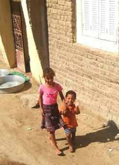 Friendly kids near the Nile in Egypt.