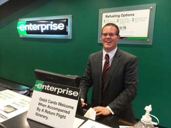 Mark Orland at the Enterprise counter near LAX. Max Hartshorne photos.